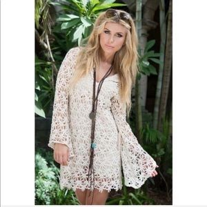 UNION OF ANGELS Crochet Embroidered Boho Dress Med